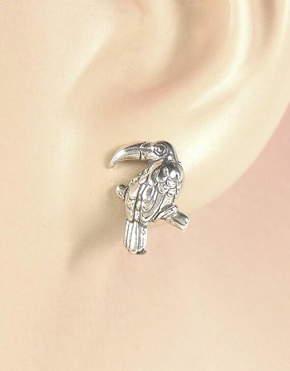 1x Piece of Sterling Silver Toucan Bird Post Stud Earring