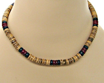 """Surfer Necklace 18"""" or 20""""Length 8mm Diameter Coconut Beads SUP Hawaiian Beach Jewelry 7041"""