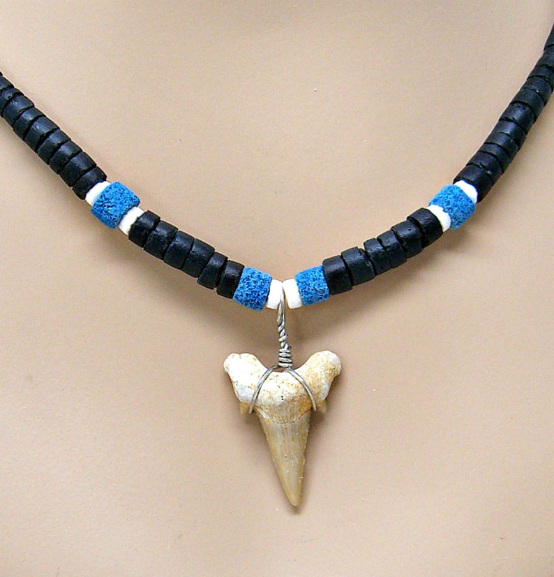 Surfer Tribal Fossil Shark Tooth 18 21 24 Necklace Black Coconut Beads Puka Sea Shell Beach SUP 7068/_67