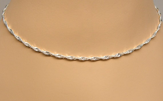 Sterling Silver Necklace Chain Singapore Twist 16 18 20 24 Etsy