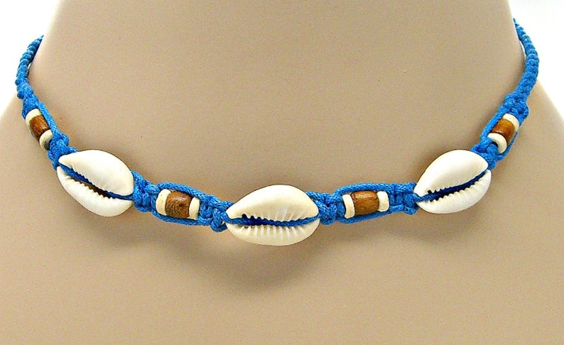 16 Macrame Cowrie Shell Choker Necklace with Wood and Coconut Beads Beach Sea Shells Surfer Girl VSCO 7015