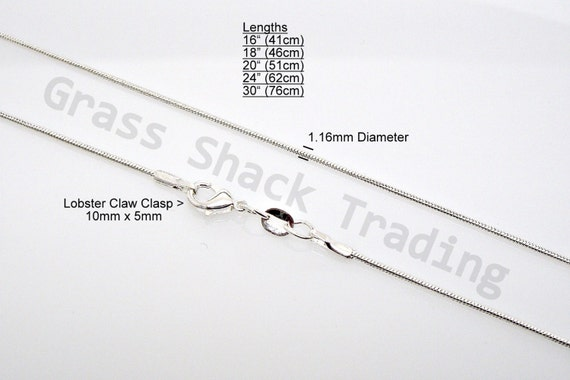 18 inch shiny silver-plated very fine snake chain for Scrabble tile pendants