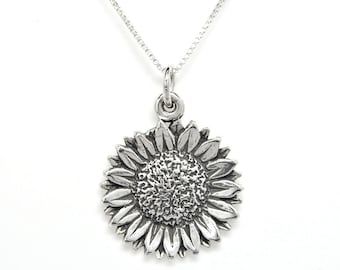 Sunflower Sterling Silver Floral Flower Nature Charm Pendant or Necklace 1931