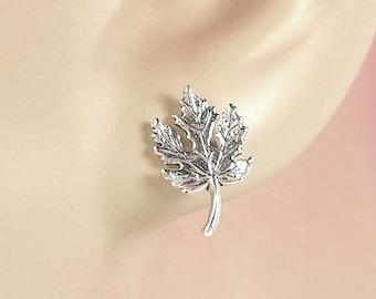 Earrings Maple Tree Leaf Sterling Silver Minimal Autumn, Fall, Post Ear Studs 3421