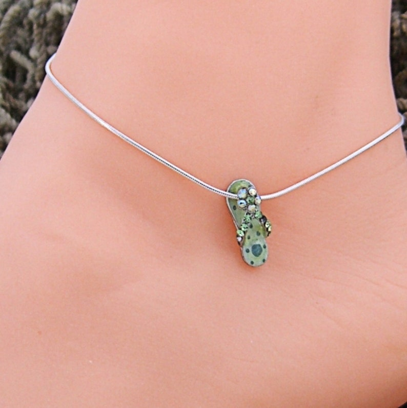 Anklet Flip Flops with Crystals Lt Green 10 11,12 Inch Sterling Silver Snake Chain Ankle Bracelet  Style 230-1489S Dk Green Polka Dots 9