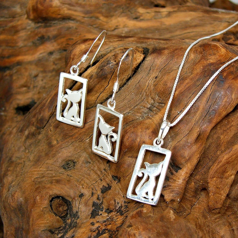 Kitty Cat in Window Frame Sterling Silver Pet Charm Pendant Necklace and Dangle Drop Ear Wires Earrings Set no 2138-3580