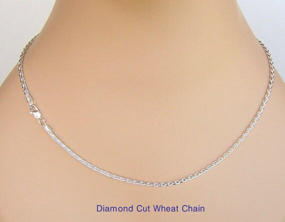 ".925 Sterling Silver Diamond Cut Wheat 1.5mm Chain 18/"""