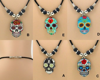 """Necklace Sugar Skull Colorful Pendant on a 19"""" Black Cord with Silver and Black Beads, Day of the Dead, Dia De Muertos  7077"""