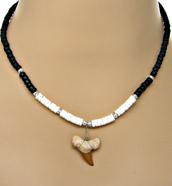 """Black Coconut Shark Tooth Necklace Genuine Modern White Tooth 18/"""" Necklace"""