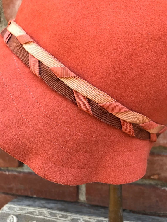 1920s Lady Supreme Orange Wool Cloche Hat - image 2