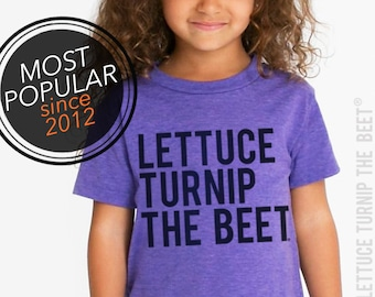 Lettuce turnip the beet® trademark brand OFFICIAL SITE - purple heather shirt with classic logo - garden, vegetarian, vegetable, farm, music