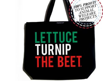 Lettuce turnip the beet ® trademark brand OFFICIAL SITE - large canvas tote bag - farmers market - yoga - chef - vegan - gardening  - Italy