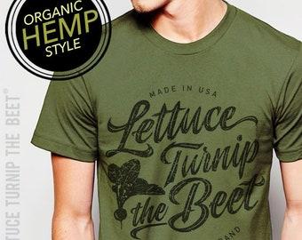 f7b92bad75 Lettuce turnip the beet ® trademark brand OFFICIAL site - green HEMP and  ORGANIC cotton t shirt with logo - vegetarian, farm, garden, funny
