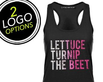 SALE Lettuce turnip the beet ® trademark brand OFFICIAL SITE - black women's racerback tank top shirt - dance music yoga spinning crossfit