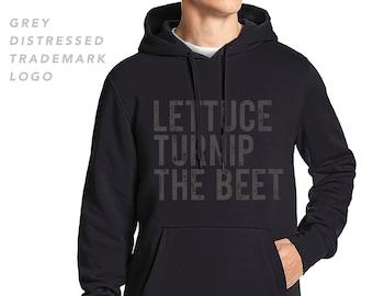 Lettuce turnip the beet ® trademark brand OFFICIAL SITE - black hoodie with distressed logo -  dance music vegan vegetarian - men's L