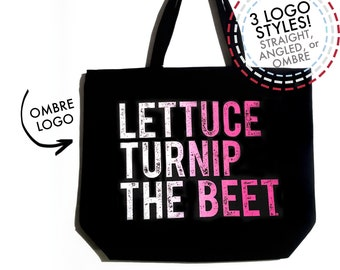 Lettuce turnip the beet ® trademark brand OFFICIAL site - large canvas tote bag - farmers market chef vegetarian music gardening yoga dance