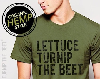 55ac9151 Lettuce turnip the beet ® trademark brand OFFICIAL site - green HEMP and  ORGANIC cotton t shirt with logo - vegan, chef, garden, funny
