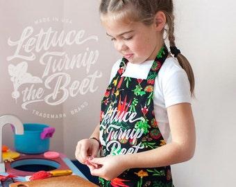 lettuce turnip the beet ® KID APRON - trademark brand official site -  veggie print - garden - vegan - farmers market -  chef - Made in USA
