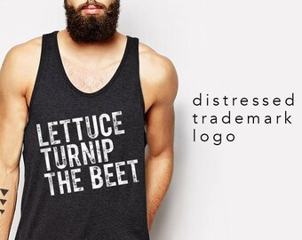 Lettuce turnip the beet ® trademark brand OFFICIAL SITE - dark grey tank top with distressed logo - music festival shirt, edm, edc, funny
