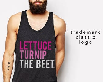 lettuce turnip the beet ® trademark brand OFFICIAL SITE - dark grey tank top with pink classic ombre logo - seen on Real Housewives of NY