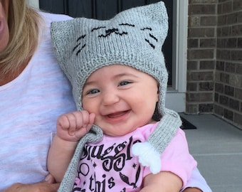 Knit Baby / Toddler Hat / Bonnet Helmet - Baby and Me Cat Hat