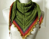 SALE - Handknit Women Triangle Scarf Shawl Style Neckwrap with Bead Dangles - Forest Green and Brick Red