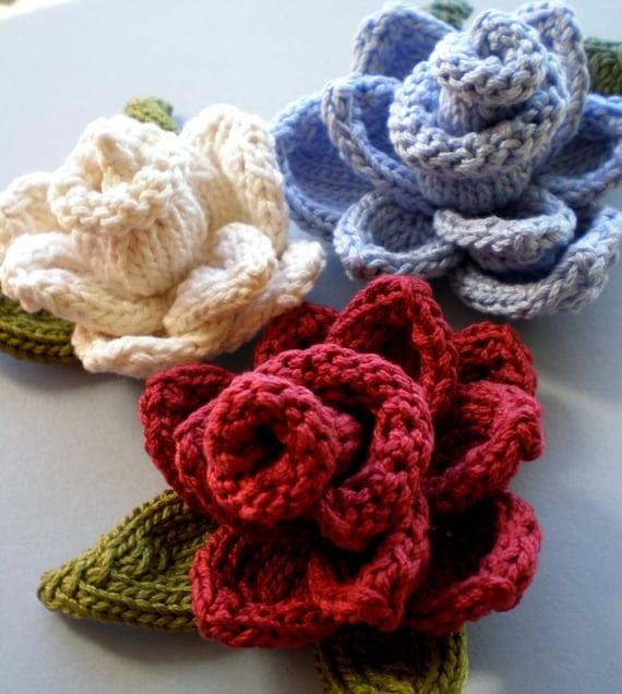 Pdf Knitting Pattern Rose Knit Flower Etsy