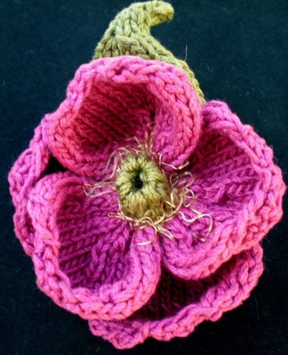 Instant Download Pdf Knit Flower Pattern Peony Knitted Etsy