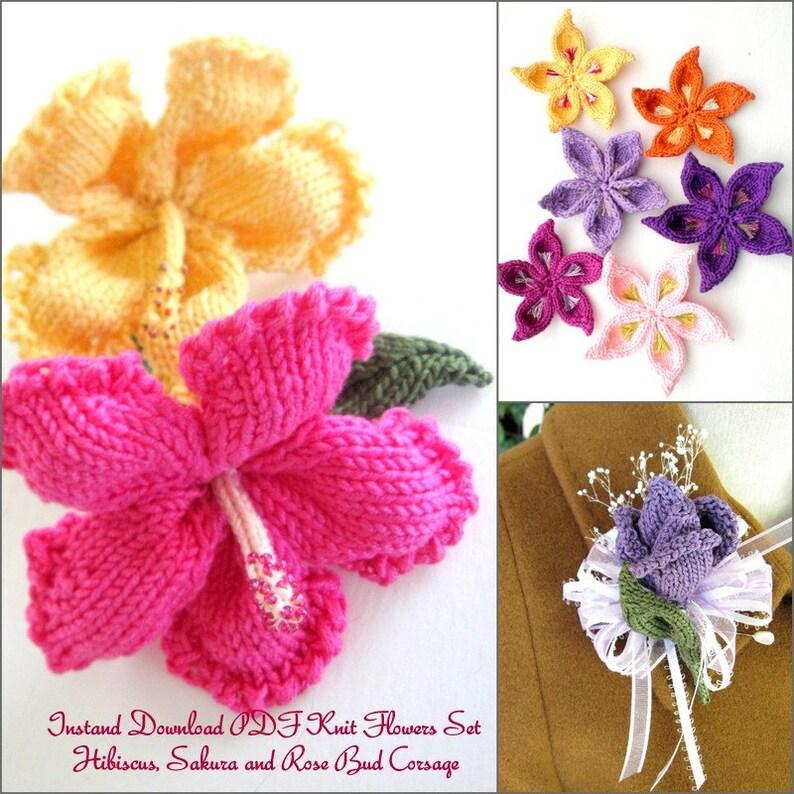 Flower Knitting Pattern Set Hibiscus Sakura Rose Bud Etsy