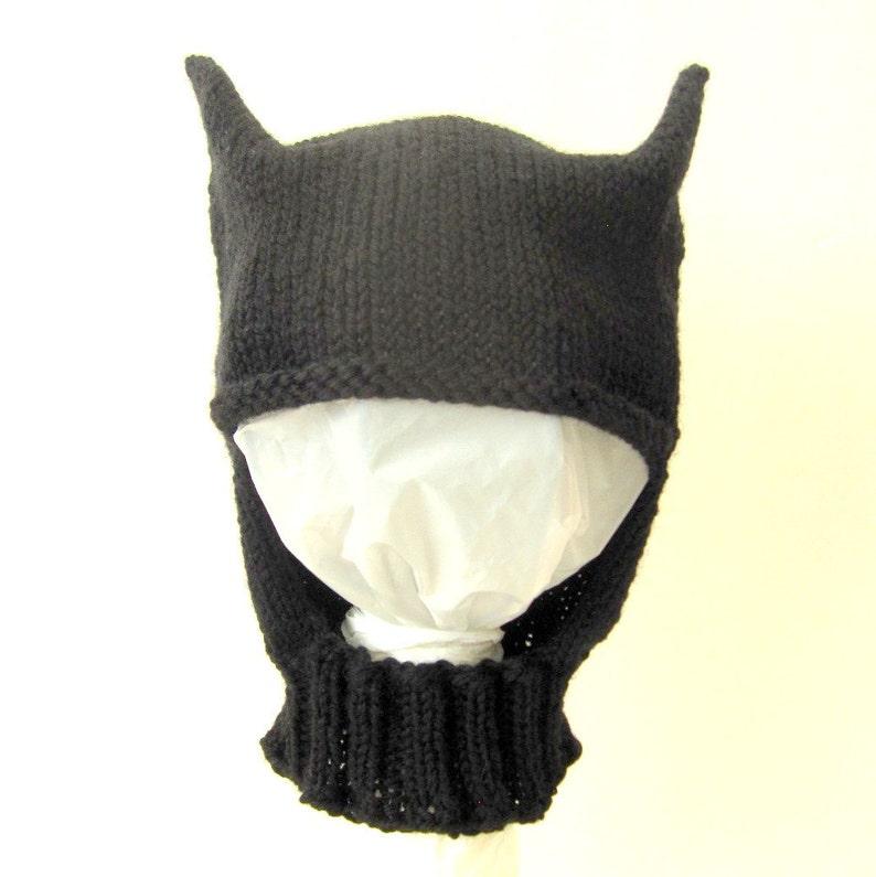 52b9dbe9b24 Knit Baby   Toddler Hat   Bonnet Helmet Batman Inspired Hat
