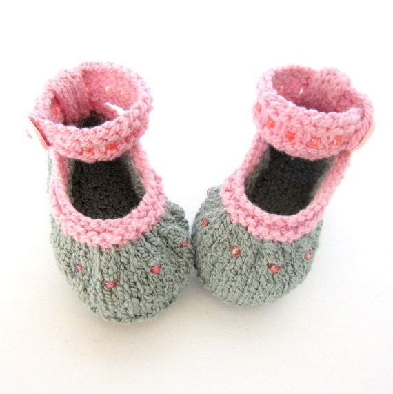 c8d7a299c Hand Knit Baby Booties   Infant Girl Shoes Beaded Moss Green