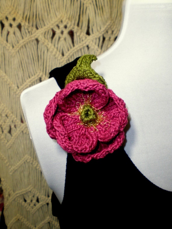Instant Download PDF Knit Flower Pattern - Peony Knitted Flower