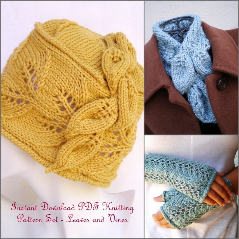 Instant Download Knitting Patterns Hat Collar Scarf And Etsy
