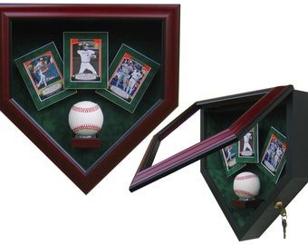 542978e645c 1 Baseball and 3 Cards Homeplate Shaped Display Case