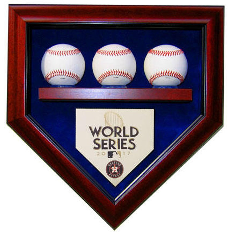 Houston Astros 3 Baseball 2017 World Series Champions Homeplate Shaped Display Case