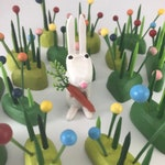 bunny figure | easter bunny | white rabbit | black rabbit | rabbit figure | christmas putz | tiny forest | build a forest | woodland scene