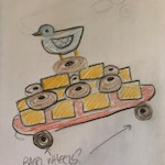 Custom Bird on Pyramid of Butter and Bagels on Skateboard--reserved for Donna