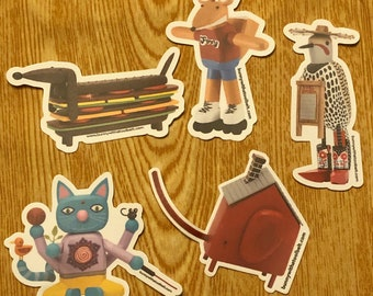 STICKERS!!!! Durable vinyl stickers of my favorite book characters! Weatherproof, thick and adorable!