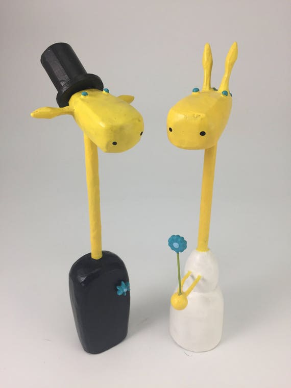 Super Sale Giraffe Bride and Groom Wedding Cake Toppers with