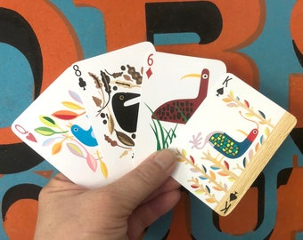 Playing Card Deck with 54 hand cut bird collages on each card face- great for family camping or road trip