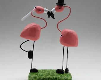 Flamingo Wedding Cake Toppers | Custom Flamingo Wedding | Gay Lesbian Wedding Cake Toppers | Custom Wedding Cake Toppers | Tropical Wedding
