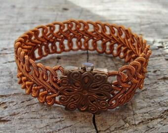 Woven Copper Bracelet Herringbone style Wire wrapped Statement jewelry