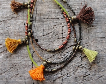 Bohemian Multi Layer Tassel Necklace Bohemian Dreams, Brown, Orange, Green, Glass and Brass with Tassels