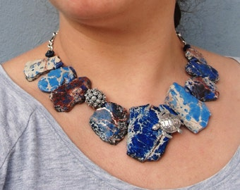 Caretta Caretta Necklace, High Seas Sea Urchin, Necklace Variscite, Lapis Lazuli Sterling Silver Ocean Statement jewelry