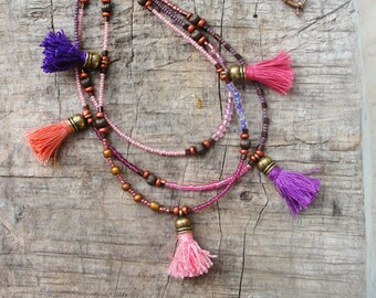 Bohemian Multi Layer Tassel Necklace Bohemian Dreams, Pink, Plum, Purple, Glass and Brass with Tassels