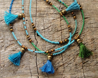 Bohemian Multi Layer Tassel Necklace Bohemian Dreams, Teal, Blue, Green, Glass and Brass with Tassels