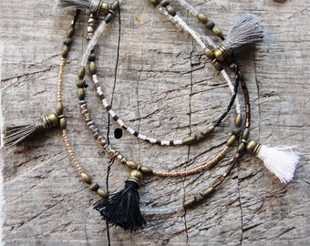 Bohemian Multi Layer Tassel Necklace Bohemian Dreams, Black, White, Grey, Glass and Brass with Tassels
