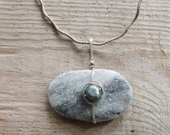 Sterling Silver Beach Pebble Necklace with Pearl Sea Treasures