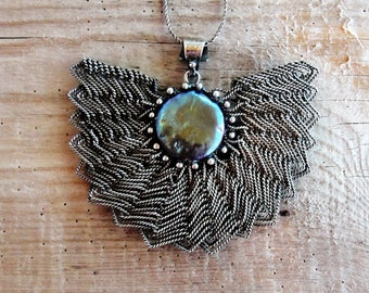 Fan Necklace Sterling Silver Handwoven Wire Jewelry with Pearl
