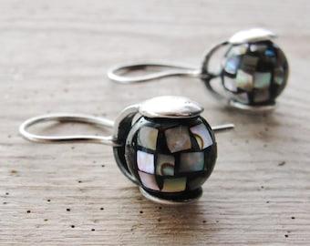 Mosaic Seashell Earrings Sterling Silver Abalone shell Earrings, Kinetic Jewelry